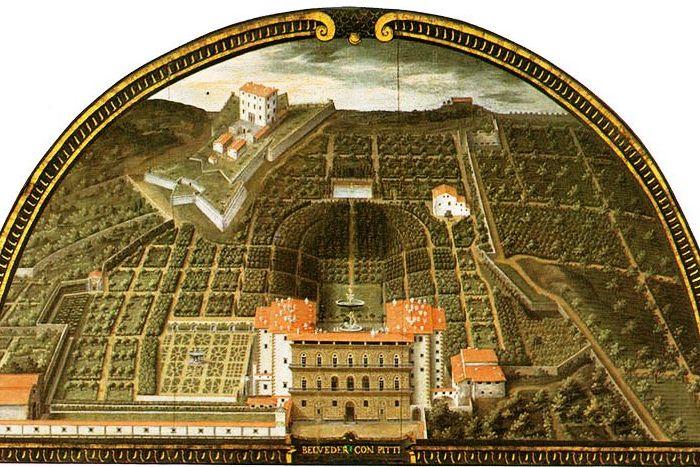 Obraz z 1600 roku, przedstawiający Ogrody Boboli urządzone wedle mody renesansowej.